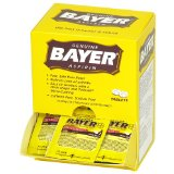 Bayer Aspirin packets convenient for first aid kits