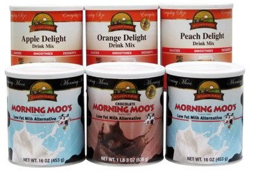 Morning moo milk alternative, peach delight, apple and orange delight