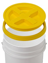 Yellow Gamma Seal lid for food storage prepping