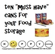 Ten Must have cans for your emergency  food storage
