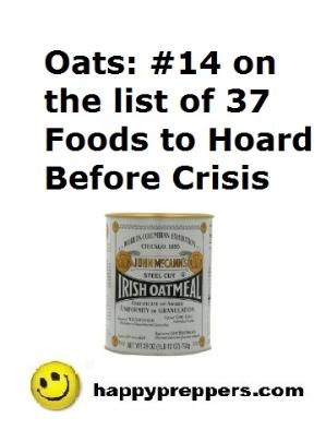 Oats are #14 on the list of foods to hoard before crisis
