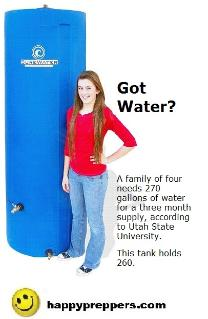 260-gallon water storage tank holds enough for a family of four
