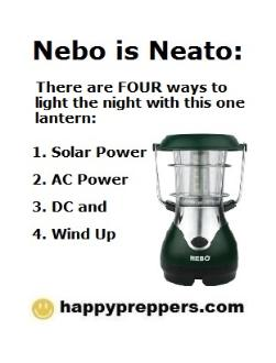 Nebo solar light with AC / DC power + crank/windup