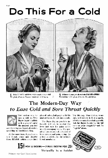vintage ad for aspirin says to use it for sore throats