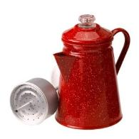 Red enamel perculator coffee pot