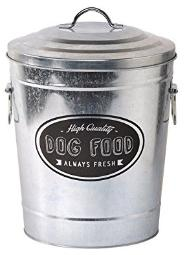 Galvanized metal dog food container