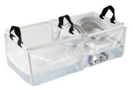 Double wash basin for cleaning outdoor cooking utensils