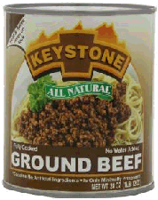 Keystone Ground beef in a can
