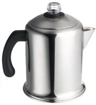 Steel perculator (avoid aluminum coffee pots)