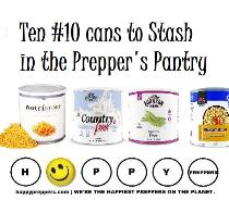 Ten #10 cans to stash in the prepper's pantry