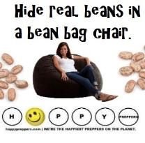 Use a bean bag chair to hide your preps