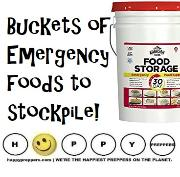 Buckets of Emergency Food to stockpile