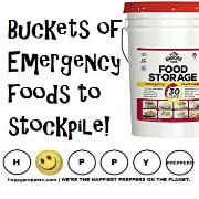 Buckets of emergency foodst to stockpile