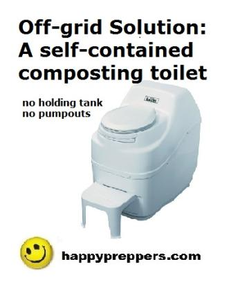 Off grid solution: self contained composting toilet