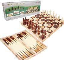 Chess, checkers and backgammon set