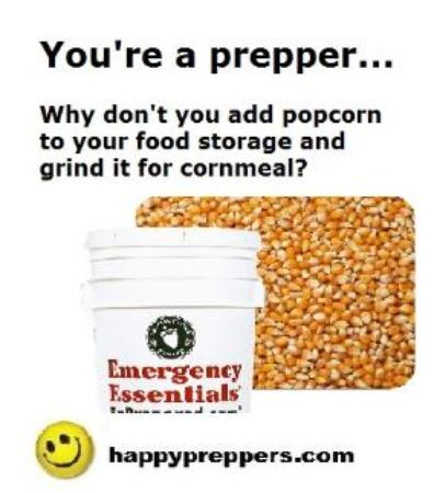 Why add popcorn to your food storage? You can grind it to flour