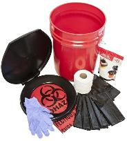 Off grid bucket toilet set with liner and chemicals