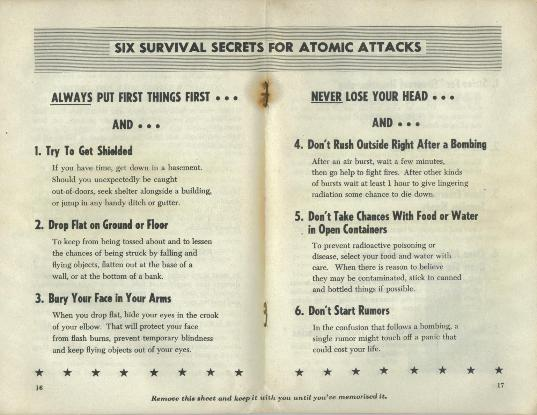 Six survival secrets for atomic attacks